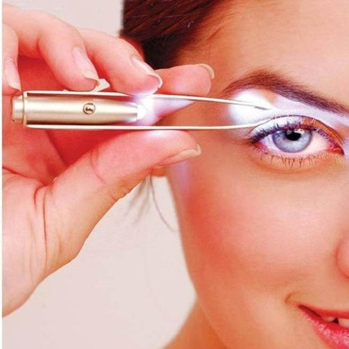 LED Light Eyelash Eyebrow Hair Removal Stainless Steel Make Up Tweezer
