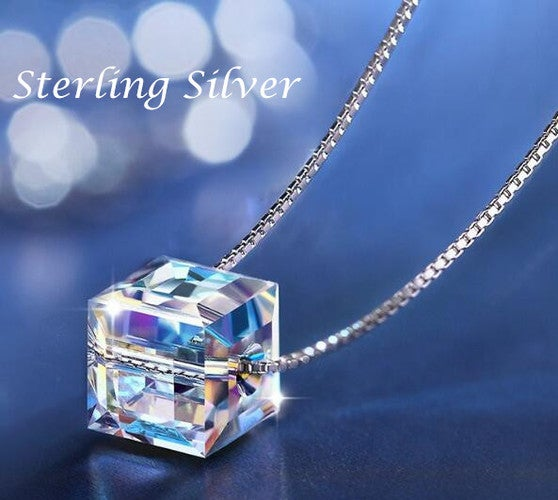 Women Jewelry Square Austrian Crystal Pendant Box Chain Necklace in Sterling Silver