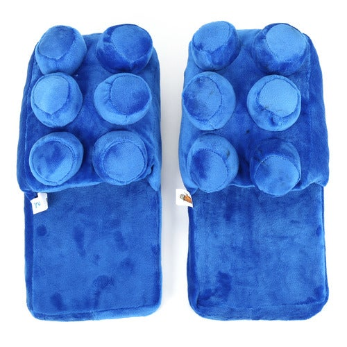 A Pair Building Brick Block Pieces Soft Slippers Warm Home Shoes Brand New