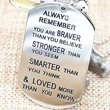 Lettering Always Remember You Are Braver Pendant Inspirational Necklace New Jewe