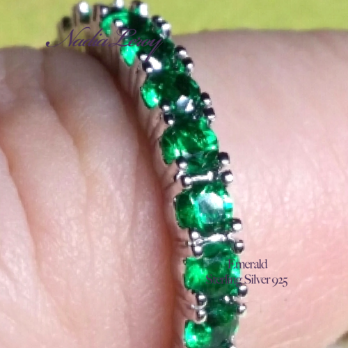 Emerald Pave Sterling Silver 925 Ring (Vrai Coquelicot)