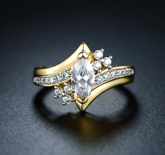 Gold Plated & Marquise-Cut Cubic Zirconia Engagement Ring