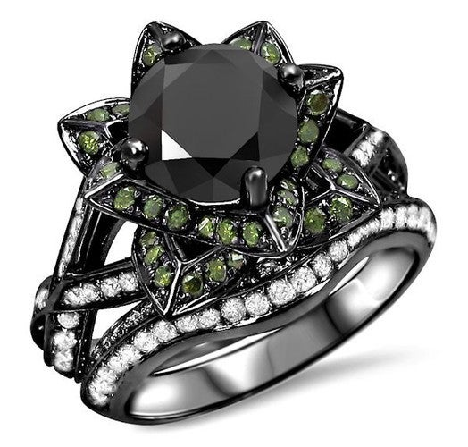 2.20ct Cushion Cut Green CZ Lotus Flower Ring Bridal Set