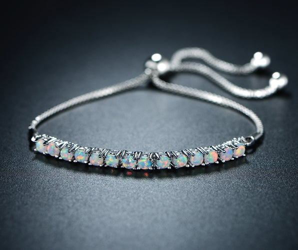 Rhodium Plated 3mm Lab Created White Fire Opal Bracelet