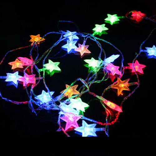2.5M 6W 20LED Copper Wire Star Curtain String Lights LED Fairy Light for Wedding Christmas Decoration Light Lamp Battery Operate