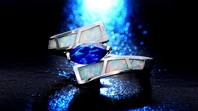 White Gold Filled Marquise-Cut Lab Created Sapphire Spinel & Genuine Ethiopian Opal Bypass Ring