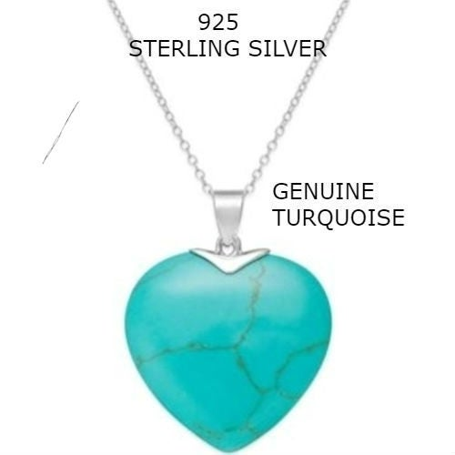 Sterling Silver Chain Genuine Turquoise Stone heart Necklace