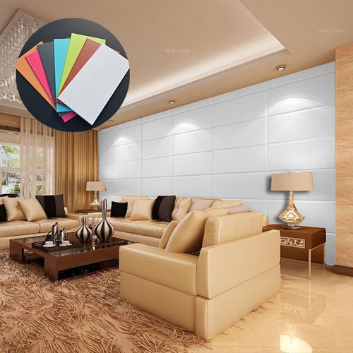 3D Colorful Wall Sticker Leather Effect TV Background Wall Art Wallpaper Decor