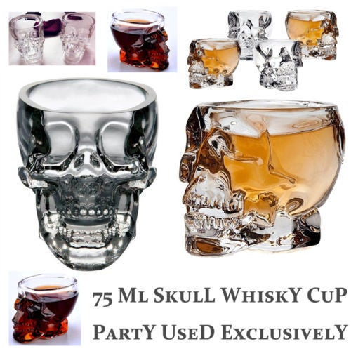 3D Crystal Skull Pirate Shot Glass Drink Whiskey Cocktail Halloween Beer Cup Hot