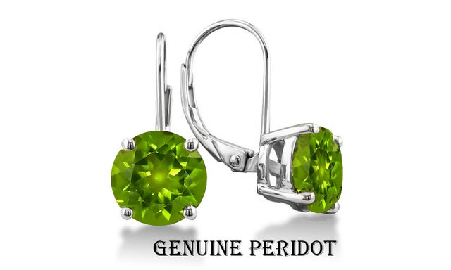 Stunning 2.00 CTTW  18K White  Gold Plated Genuine Peridot Leverback Earings