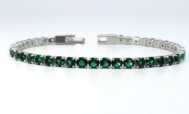 Amazing Luxurius 18Kt White Gold Plated Classic Green Spinel Tennis Bracelet