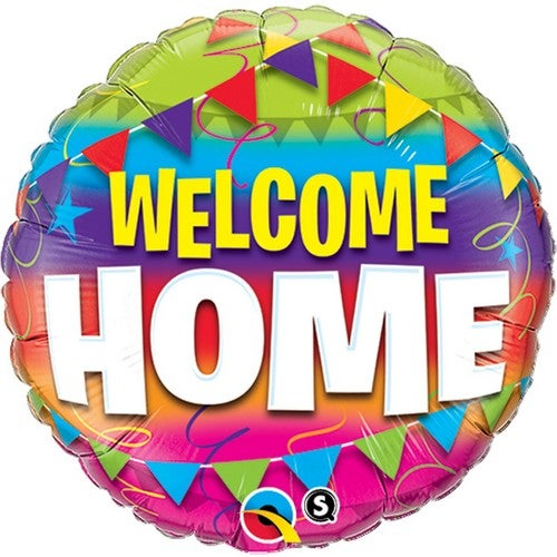 Qualatex 18 Inch Round Welcome Home Bunting Design Foil Balloon