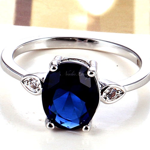 Charming Sapphire Sterling Silver 925 Ring