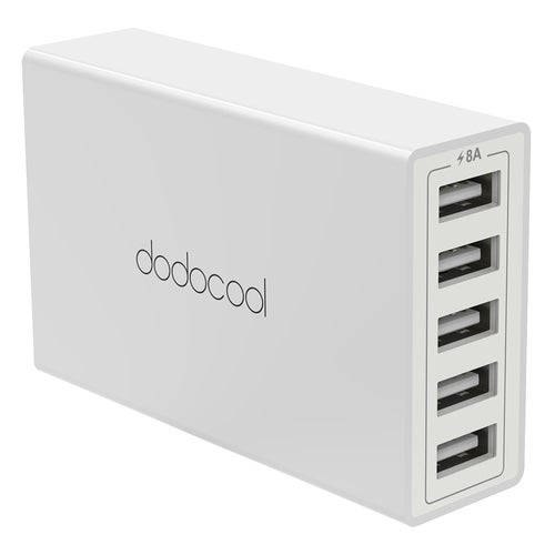 dodocool 40W 8A 5-Port USB Charging Station Travel Wall Charger Power Adapter with 1.5m Detachable AC Power Cord for iPhone / iPad / Android Smartphone Tablet Portable Device US Plug White