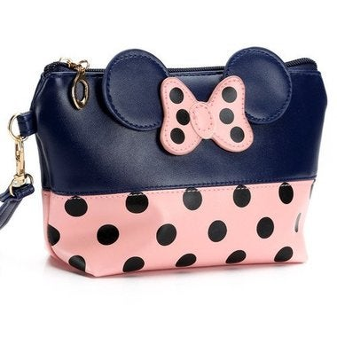 *NEW* Womens Accessories Travel Cosmetic Bag Polka Dot Bow Makeup Case Organizer