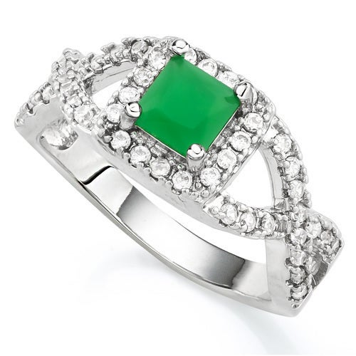 14k White Gold Filled, Beautifully Created Fine Emerald and White Sapphire Ring