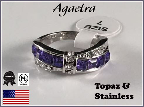 Princess Cubic Zirconia & Stainless Steel Band. Size 7,8 or 9 please.