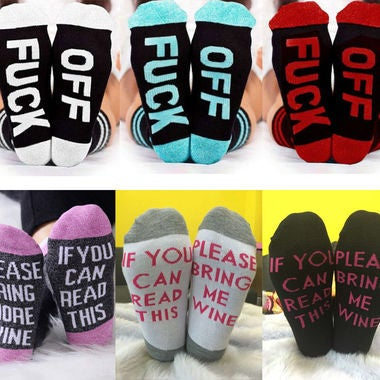 Men Women Unisex Letter Fuck-Off Funny Casual Sports Skateboard Socks Stockings