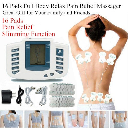 16 Electrode Pads !!! Full Body Massage Shaper Slimming Tens Acupuncture Digital Therapy Massager