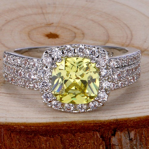 Charming Citrine & White Sapphire Sterling Silver 925 Ring