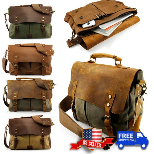 22bdae7f9c1c ... Mens Vintage Canvas Leather Satchel School Military Messenger Shoulder  Bag Travel Bag - Khaki online store ...