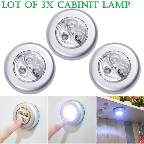 [3Pack] 3LED Wardrobe Touch Light Lamp Battery Powered Home Kitchen Under Cabinet Closet Push Tap Stick On Lamp Touch Light Click Lamp