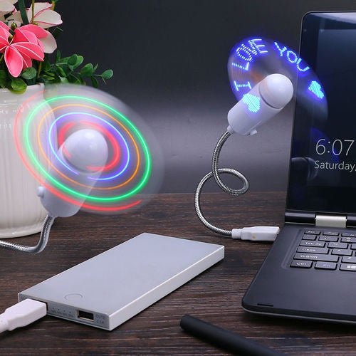 Flexible Colorful LED Light Mini USB Fan Cooling for Home Desk Notebook Laptop Gift for Lover