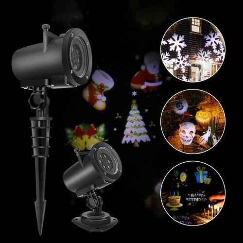 8W LED Projector Light White Lawn Light Landscape Light with 12pcs Colorful Gobo Slides & Base & Spike for Xmas Birthday New Year Halloween Thanksgiving Party Holiday AU/EU/UK/US Plug