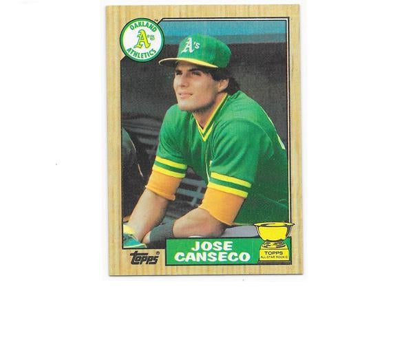 "JOSE CANSECO - 1987 TOPPS ""ALL STAR ROOKIE"" CARD # 620 - RARE & HARD TO FIND - VERY UNIQUE ORIGINAL (30 YEARS OLD) - SEE SCAN OF BACK OF CARD FOR HISTORY & STATS - NO REPRINT HERE"