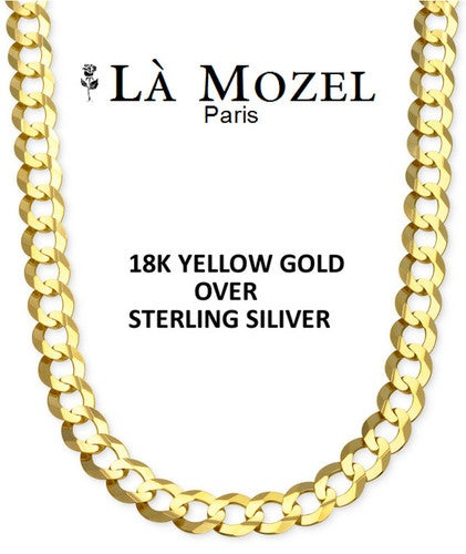 """18K Gold Over Sterling Silver Italian-Crafted Cuban Chain - 22"""""""