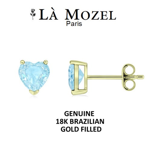 Luxurious 18K Brazilian Gold Filled 2 Carat Sky Blue Heart Shaped Stud Earrings