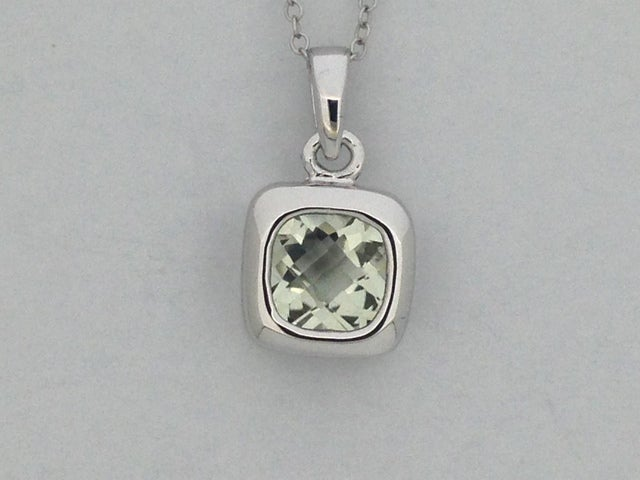 Natural Green Amethyst Pendant 925 Sterling Silver
