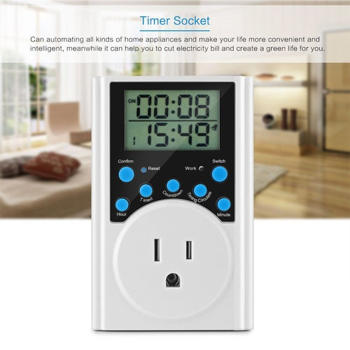 Multi-function 15A Timer Socket Wall Plug 24-Hour Daily Setting Outlet Digital Electric Timer Switch Support Interval Circulation/Countdown for Humidifier Fish Tank Heater Home Lights US Plug AC 125V