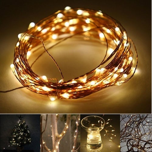 10M 33FT 100 led 3 AA Battery Powered Decoration LED Copper Wire Fairy String Lights Lamps for Christmas Holiday Wedding Party