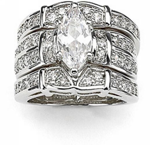 3pc Marquise Cut CZ Bridal Ring Set #708