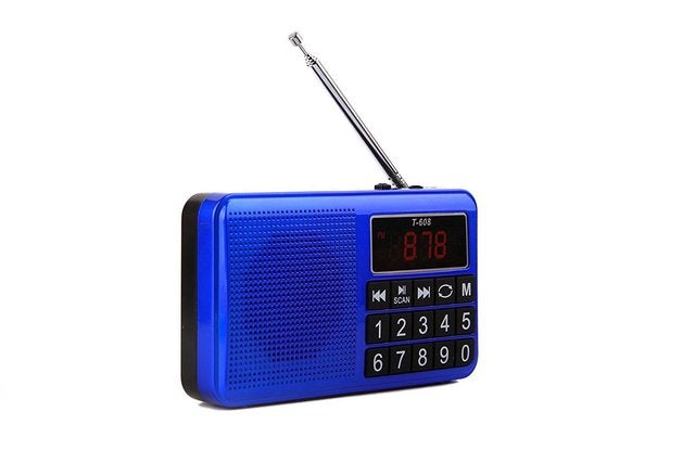 Portable Rechargeable Digital LED Display Panel Stereo FM/MW/SW Radio Speaker Support USB TF Mirco AUX SD Card MP3 Music Player for The Elderly-(Blue)