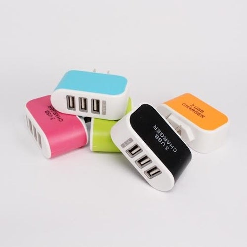 3-Port USB Wall Charger (Assorted Colors)