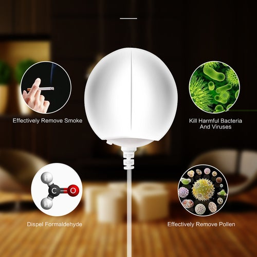 Mini Style 2 in 1 Portable Mini USB Anion Air Purifier Freshener with Warm White & Red LED Night Light Mood Light Desktop Air Cleaner Remove Cigarette Smoke Odor Smell Bacteria Use in Home Car