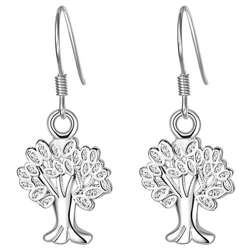 18kt White Gold Plated Lucky Tree Earrings