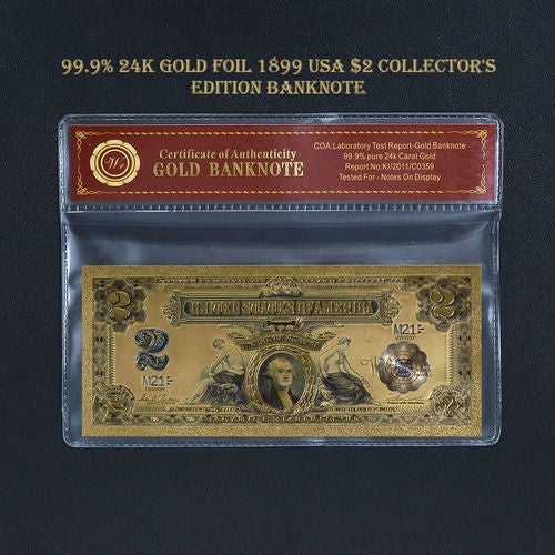 Limited 99.9% 24k Gold Foil Polymer Collectors 1899 US $2 with Certificate of Authenticity