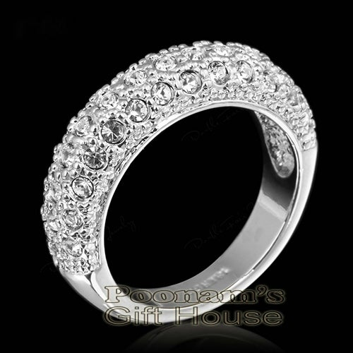 18K White Gold Plated Multi Layer Austrian Crytal Ring