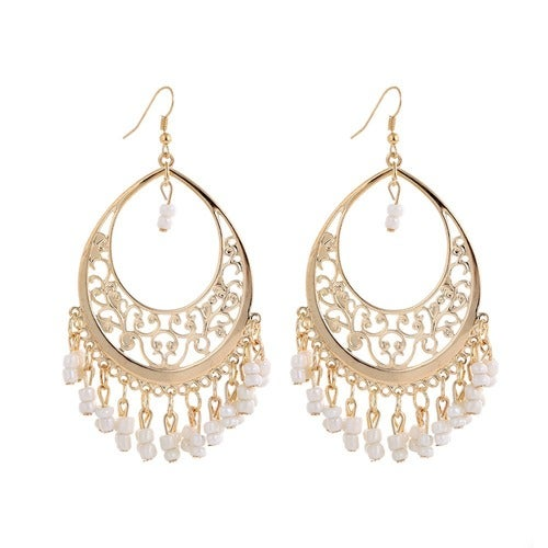 18kt Gold Plated Oval Beads Drop Earrings