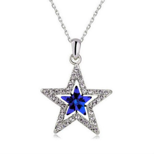 Austrian Crystal Blue & White Star Necklace Dallas Cowboys Fan Must Have!!