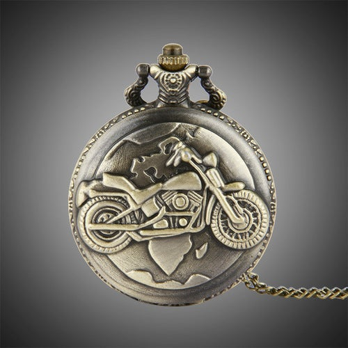 Cool Exquisite Personality and Stylish Cinnamon Motorcycle Pocket Watch