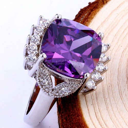 Amazing 6ct Amethyst & White Topaz Sterling Silver 925 Ring
