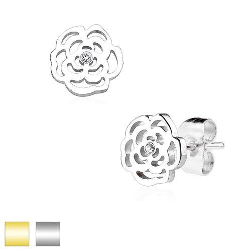 Rose Blossom with Crystal 316L Stainless Steel Earring Studs Pair