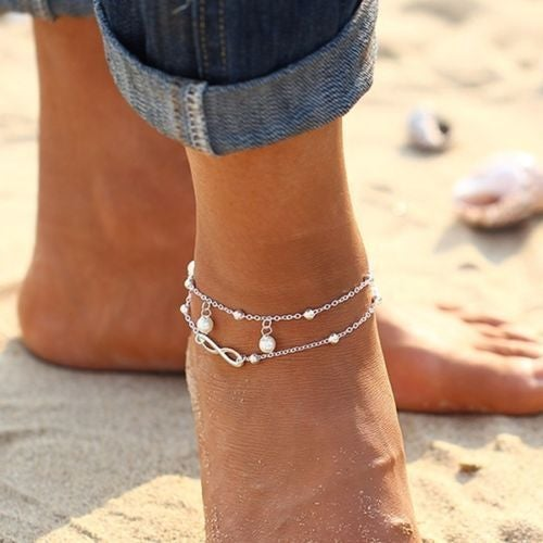 Infinity and Pearls Double Chain Ankle Bracelet - Choose Color