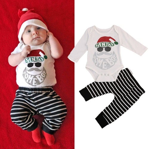 Newborn Baby Santas Homeboy Christmas Romper Tops Striped Pants Outfits Clothes