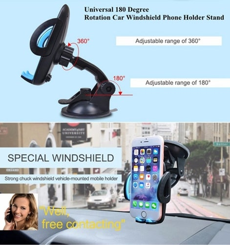 Universal 180 Degree Rotation Car Windshield Phone Holder Stand Clip Bracket with Sucker for Smartphone Tablet