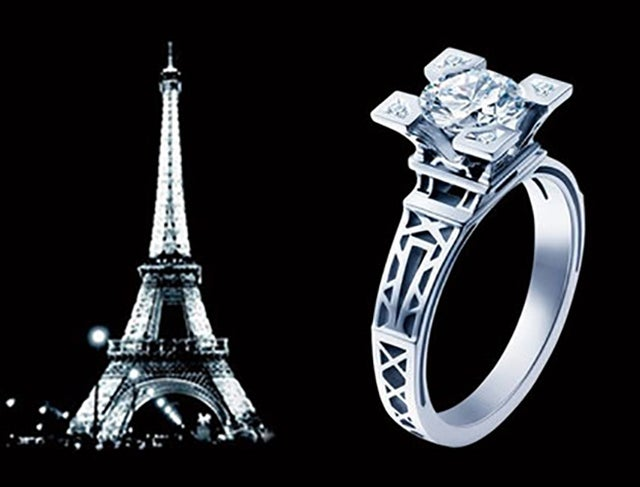 Eiffel Tower Ring 18K White Gold Plated AAA CZ Women Luxury Ring #699